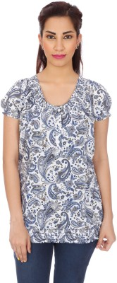 Clodentity Casual Short Sleeve Printed Women's Blue Top