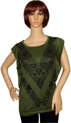 Sarva Casual, Party Short Sleeve Printed Women,s Green Top