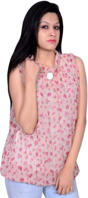 Womaniya by Being Dessi Party Sleeveless Solid Women's Pink Top