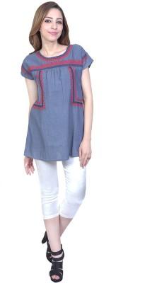 Urban Religion Casual Short Sleeve Self Design Women's Grey Top