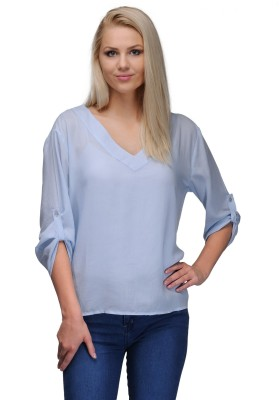 Curvy Q Casual Roll-up Sleeve Solid Women's Blue Top