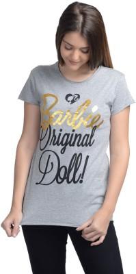 Barbie Casual Short Sleeve Printed Women's Grey Top