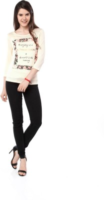 Miss Pink Casual 3/4 Sleeve Graphic Print Girl's Beige Top