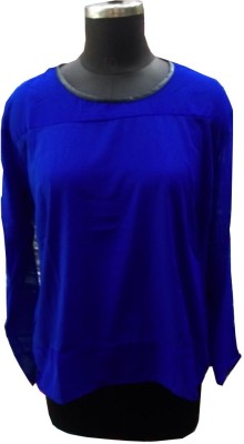 V.K TRADERS Casual Full Sleeve Self Design Women's Blue Top