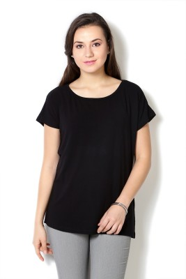 Van Heusen Casual Short Sleeve Solid Women's Black Top