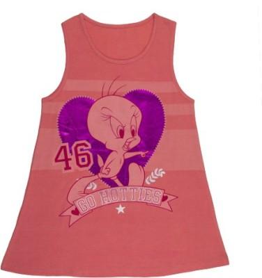 Tweety Casual Sleeveless Printed Girl's Pink Top