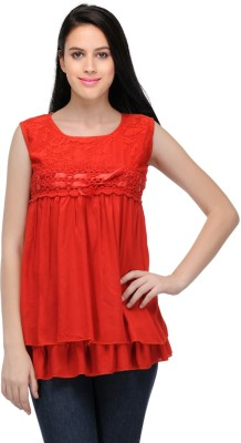 Fashion Hut Casual, Party Sleeveless Solid Women's Red Top