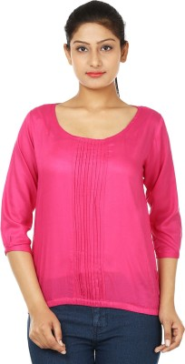 UrSense Casual 3/4 Sleeve Solid Women's Pink Top