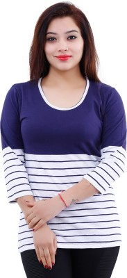 The Clove Casual 3/4 Sleeve Striped Women's Blue, White Top