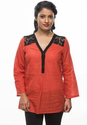 Moda Vastra Casual 3/4 Sleeve Solid Women's Orange Top