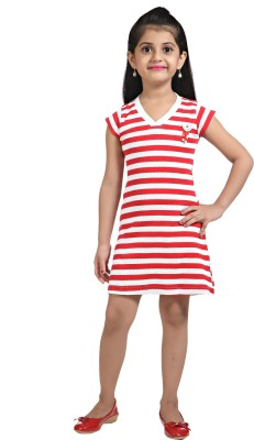 Triki Casual Short Sleeve Striped Girl's Red Top