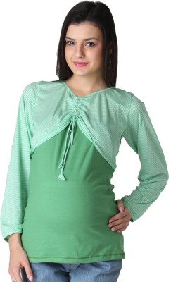 Morph Maternity Casual Full Sleeve Solid Women's Green Top
