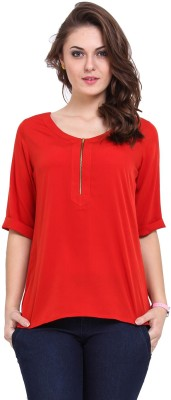 Modattire Casual Short Sleeve Solid Women,s Red Top