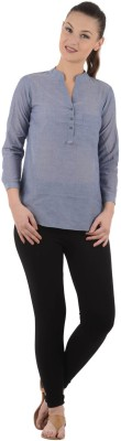 UrbanRebels Casual 3/4 Sleeve Solid Women's Grey Top