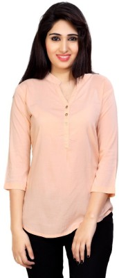 Carrel Casual 3/4 Sleeve Solid Women's Pink Top