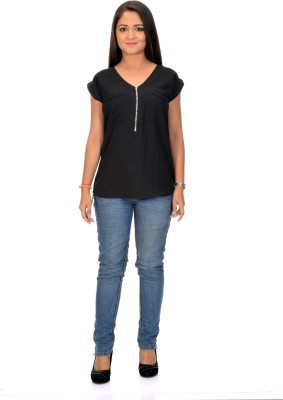Instinct Casual, Festive Short Sleeve Solid Women,s Black Top