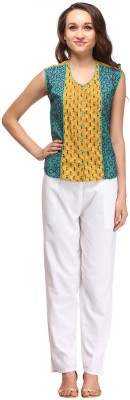 Pehraan Casual Sleeveless Printed Women's Green Top