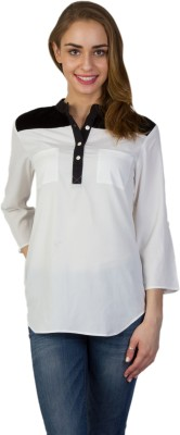 Today Fashion Casual 3/4 Sleeve Solid Women's White Top