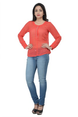 No Code Party 3/4 Sleeve Embroidered Women's Red Top