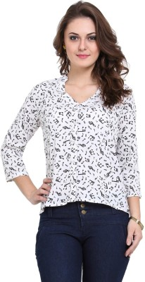 Modattire Casual 3/4 Sleeve Printed Women,s White, Black Top