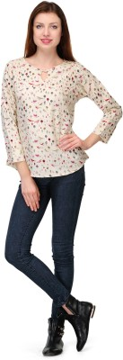 Shwetna Casual 3/4 Sleeve Printed Women,s White Top