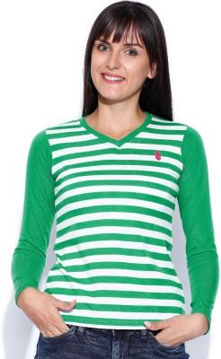 Duke Stardust Casual Full Sleeve Striped Women's Green Top
