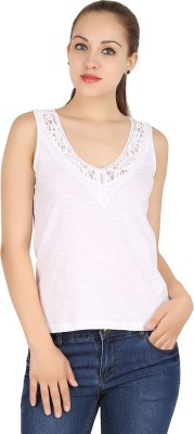 MA Casual Sleeveless Solid Women's White Top