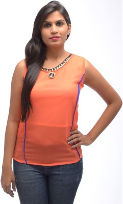 Shanu Collection Casual Sleeveless Solid Women's Orange Top
