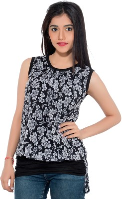 Membooz Casual, Party Short Sleeve Floral Print Women's Black, White Top