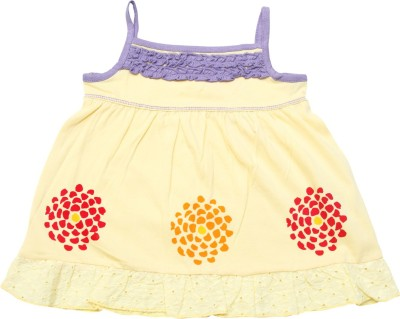 Jus Cubs Casual Sleeveless Embroidered Baby Girl's Yellow Top