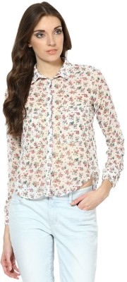 Prakum Casual Full Sleeve Floral Print Women,s White Top