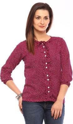 Vvoguish Women,s Polka Print Casual Purple Shirt