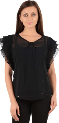 Sanchey Casual Butterfly Sleeve Solid Women's Black Top at flipkart