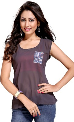 Vastrani Casual Sleeveless Printed Women's Grey Top