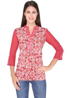 Girl Next Door Casual 3/4 Sleeve Printed Women's Maroon Top