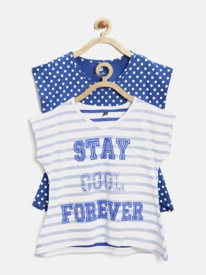Yk Casual Short Sleeve Printed Girl's White Top