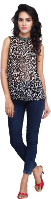 Multi Retail Casual Sleeveless Animal Print Women's Black, White Top
