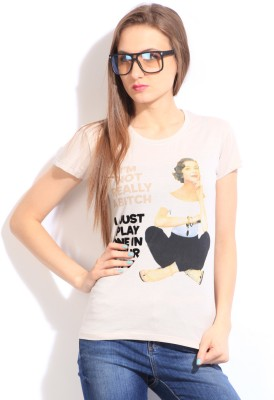 Comedy Central Casual Short Sleeve Printed Women's Pink Top