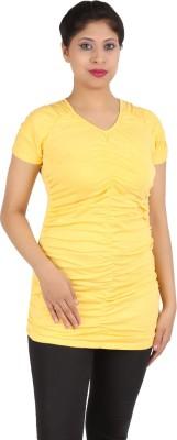 Harsha Casual Short Sleeve Solid Women's Yellow Top