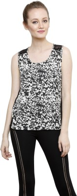 I Am For You Casual Sleeveless Printed Women's Black Top