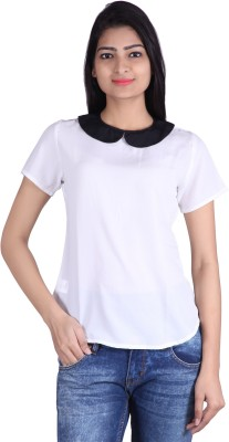Tinge of Colors Casual, Formal 3/4 Sleeve Solid Women's White, Black Top