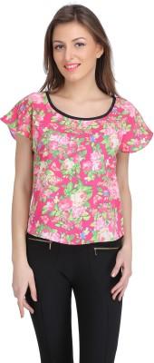 Ozel Casual Short Sleeve Printed Women's Multicolor Top