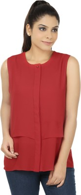 Elmo Casual Sleeveless Solid Women's Red Top