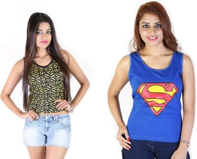 Fashion Fakir Casual Sleeveless Printed Women's Black, Blue Top