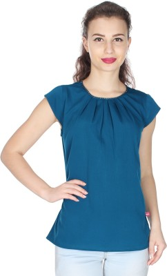 UVR Casual Cap sleeve Solid Women's Green Top