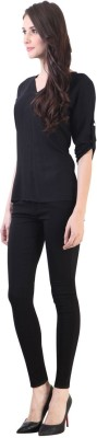 Vvine Party, Casual 3/4 Sleeve Self Design Women's Black Top
