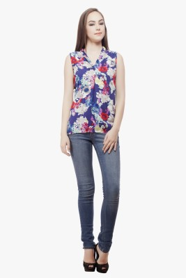 Miss Queen Casual Sleeveless Floral Print Women's Multicolor Top