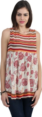 Archiz Casual Sleeveless Printed Women's Multicolor Top