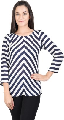 Whistle Casual 3/4 Sleeve Striped Women's Blue, White Top