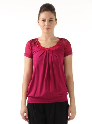 Monte Carlo Casual Short Sleeve Solid Women's Pink Top